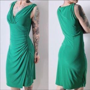 Ralph Lauren Green Sheath Ruched Dress